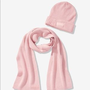 NWT PINK Victoria's Secret Scarf And Beanie Set